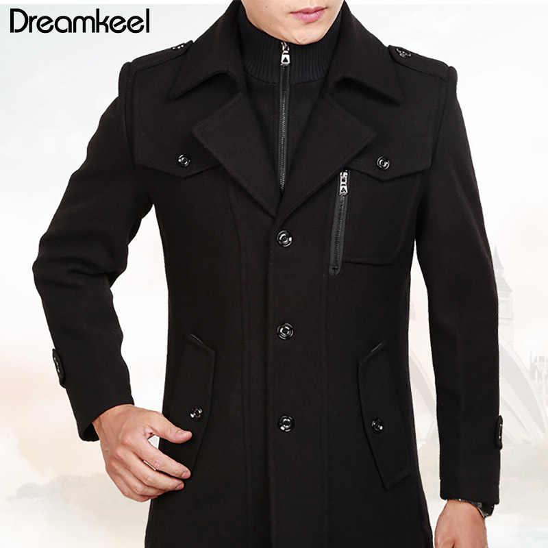 Тонкий умный Повседневный формальный шерстяной мужской одежды пальто модное зимнее платье пальто для мужчин s осенне-зимний плащ для мужчин 2019Y
