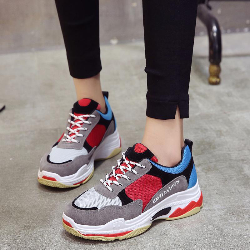 Fooraabo Spring Women Shoes 2018 New Fashion Red Black Platform Sneakers Women Casual Shoes Harajuku Basket Femme Tenis Feminino wolf who women winter shoes fur wedge fashion sneakers women hidden heels basket femme tenis femininos casual h 152
