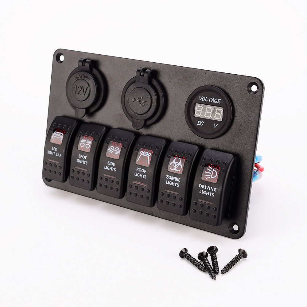 hight resolution of 6 group aluminum switch panel red dual lamp 5p on off rocker switch fog light switch car refrigerator switch