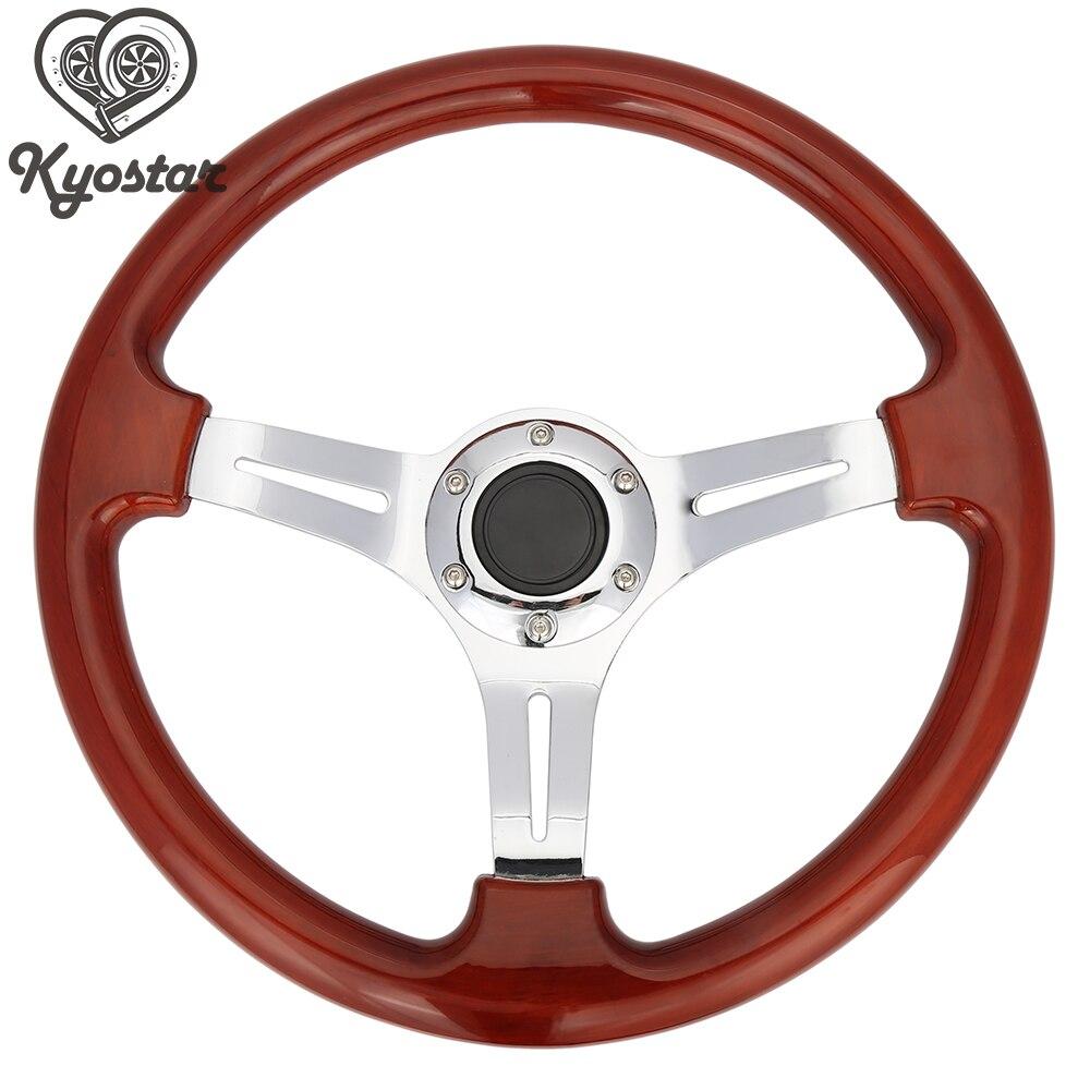 цена на Nob Classic 350mm Car Brown Wood Grain Steering Wheel Wooden Steering-Wheel with Chrome Spoke Universal