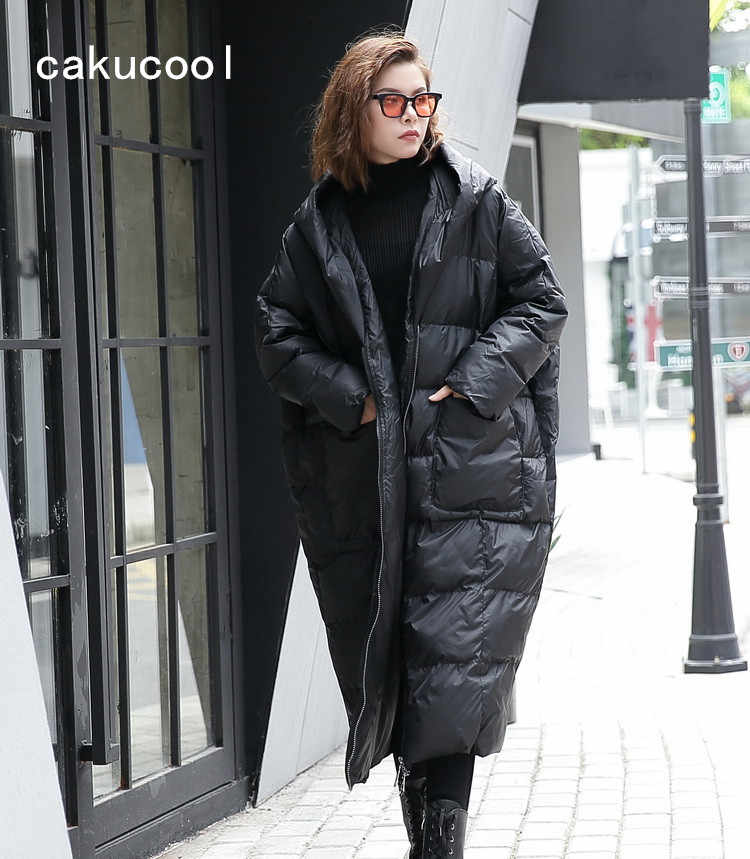 f180a21602b0 Cakucool New Women Oversize Parka Pockets Batwing Loose Warm Overcoat  Hooded Large Mid Long Casual Parkas