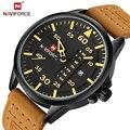 NAVIFORCE Top Brand hombres de Lujo Relojes Deportivos Hombres de Cuarzo Resistente Al Agua Reloj de Hombre de Cuero Militar reloj de Pulsera Relogio masculino