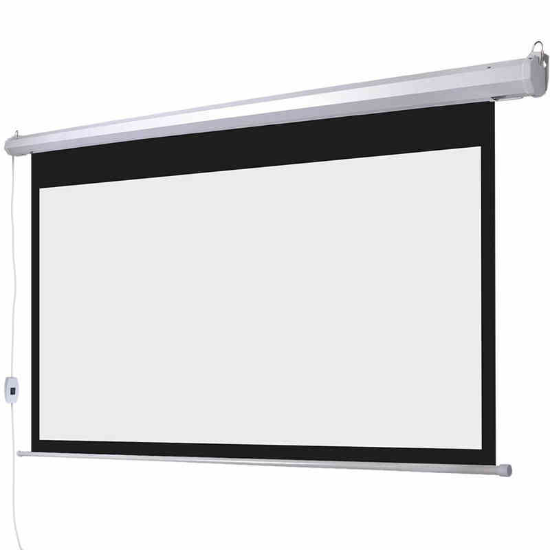 Quality <font><b>150</b></font> <font><b>Inch</b></font> Motorized Projection <font><b>Screen</b></font> 16:9 Matt White HD <font><b>Projector</b></font> <font><b>Screens</b></font> 3.32x1.87 Meter With Wireless Remote Control image