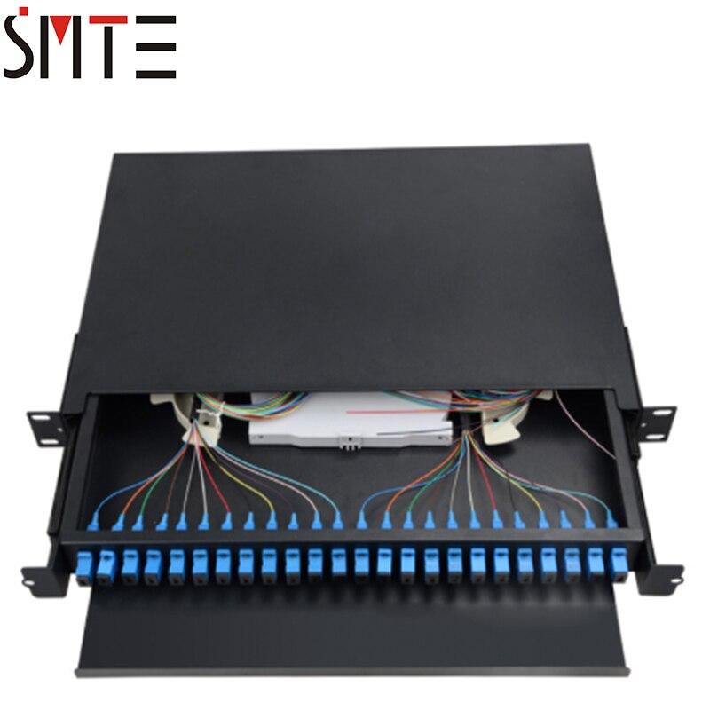 FTTH 1U 24 core fiber termination box LC 24 ports pigtail