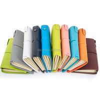 Binding Strap Loose Leaf Travel Journal PU Leather Travel Diaries Pink Green Black Blue Orange