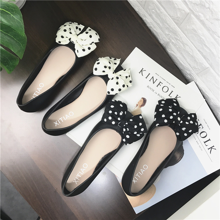 Sweet Butterfly knot Polka Dot Basic Slip On Pumps For Women Casual With Low Heel Ladies Pumps Square Toe PVC Single Shoes