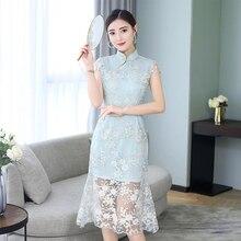 Летнее женское платье ретро кружева Cheongsam Tang костюм элегантные вечерние ночные платья M L XL XXL XXXL