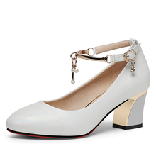 Summer White Color Women Square High Heel Women Shoes Pointed Toe Pumps Dress High Heels Comfortable Single Shoes YG-A0294 цена в Москве и Питере