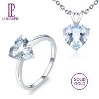 LP 3.22Carats Natural Gemstone Aquamarine Solid 14K White Gold Ring & Pendant fashion Stone Fine Jewelry Sets