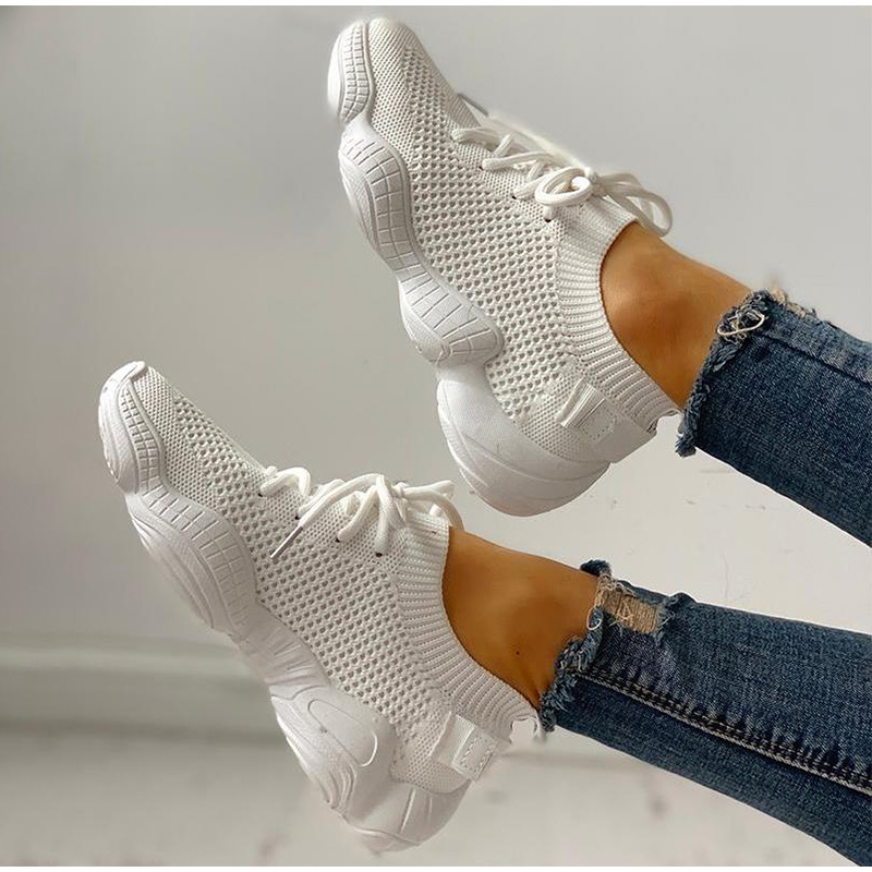 HTB1.6RFSAzoK1RjSZFlq6yi4VXaV Women Mesh Spring Sneakers Ladies Lace Up Stretch Fabric Platform Flat Vulcanized Casual Shoes Female Breathable Fashion