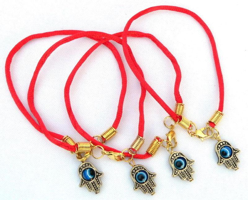 100 pcs Kabbale String Rouge w/Hamsa Main  Evil Eye Kabbale Charmes Bracelets SHL1230