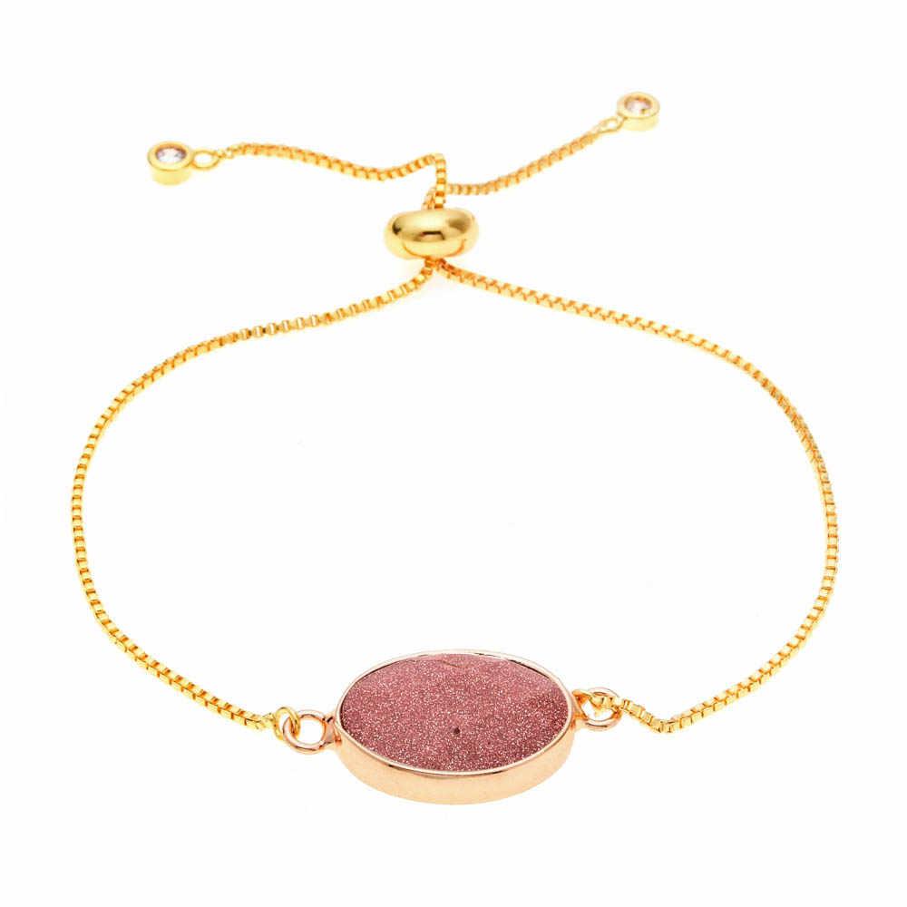 Lubingshine Vòng Tay Đá Opal Vòng/Hình Bầu Dục Đá Tự Nhiên Druzy Có Thể Điều Chỉnh Dây Chuyền Vòng Tay Lắc Tay Cho Nữ Màu Vàng Trang Sức