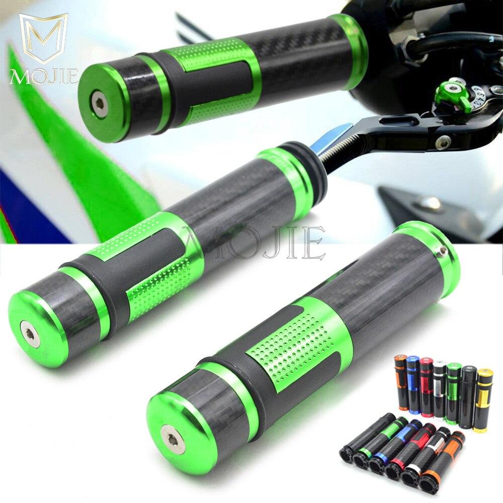 22mm Motorcycle Hand Grips Handle Bar Handlebar End Grips Carbon Fiber For Kawasaki ZX6R ZX9R ZX10R ZXR250 ZXR400 ZZR400 ZZR600