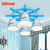 The Mediterranean Children Room Chandelier European Creative Cartoon Study Lamp Boys And Girls Bedroom Lamps And