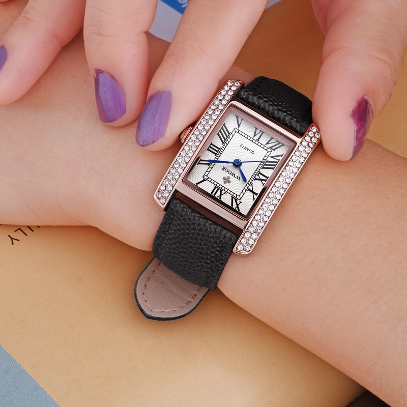 Womens Brand Watch Leather Womens Square Rose Gold Quartz Watch Montre Femme Elegant and Beautiful Diamond EmbellishmentWomens Brand Watch Leather Womens Square Rose Gold Quartz Watch Montre Femme Elegant and Beautiful Diamond Embellishment