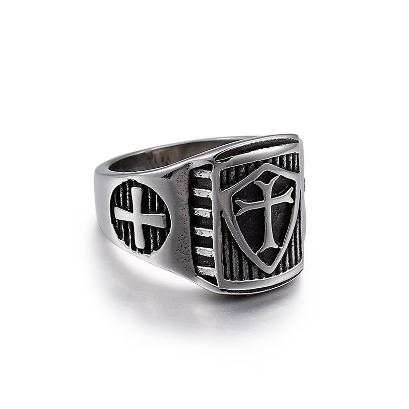 Fashion Cool Men Punk Retro Silver Black Stainless Steel Vintage Silver Cross Shield Weapon Finger Retro Rings Jewelry