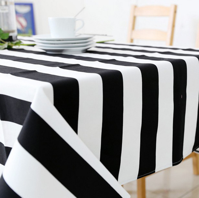 Cheap Price Black And White Striped Table Cloth Canvas Tablecloth For  Dining Room