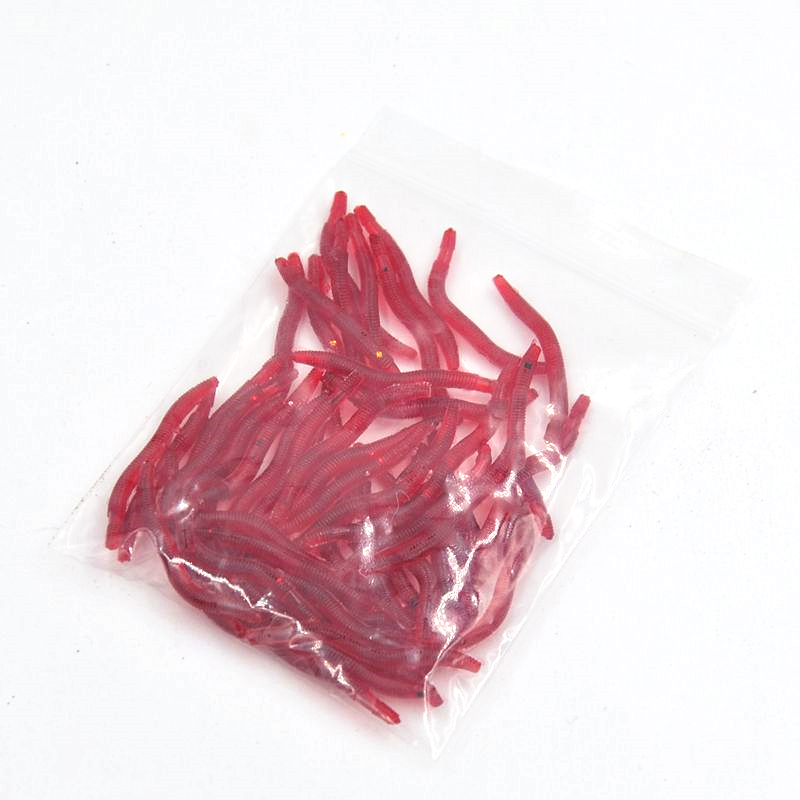 50pcs box Artificial Earthworm Fishing Lure Blood Worm Maggot Soft Bait River Stream Lake Freshwater Fishing Baits Dropshipping in Fishing Lures from Sports Entertainment