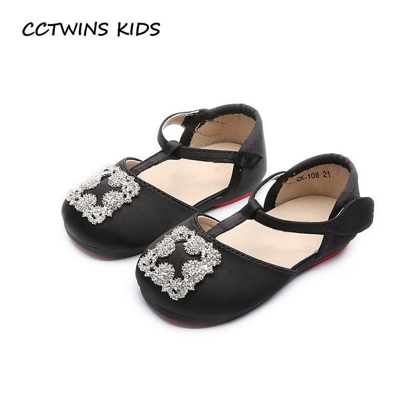 CCTWINS KIDS 2017 Kid T-Strap Baby Girl Black Shoe Children Fashion Pu Leather Mary Jane Toddler Brand Rhinestone Flat G1423