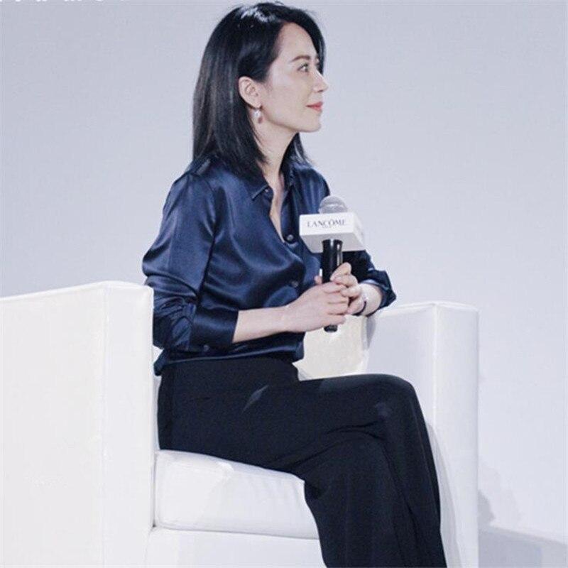 Women Summer Breathable Stretch Silk Tops Woman Plus Size 60% Silk Blouse Female Oversize Silk Shirts Lady Ribbon Silk Shirt