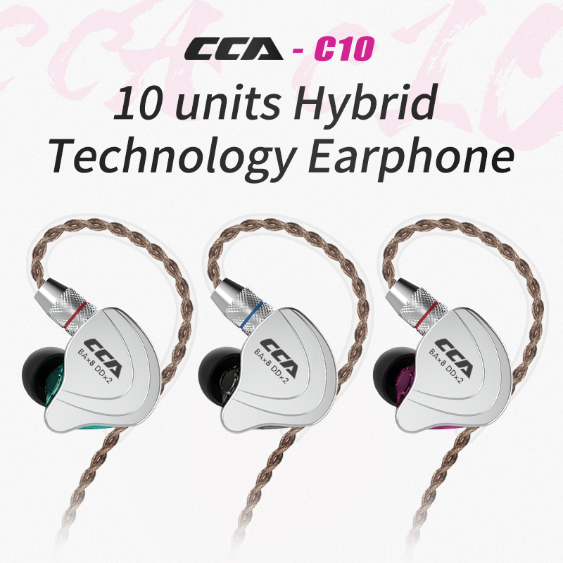 CCA C10 4BA+1DD Hybrid In Ear Earphone HIFI DJ Monitor Running Sport Earphone Headset Earbud With Detacable Upgraded Cable