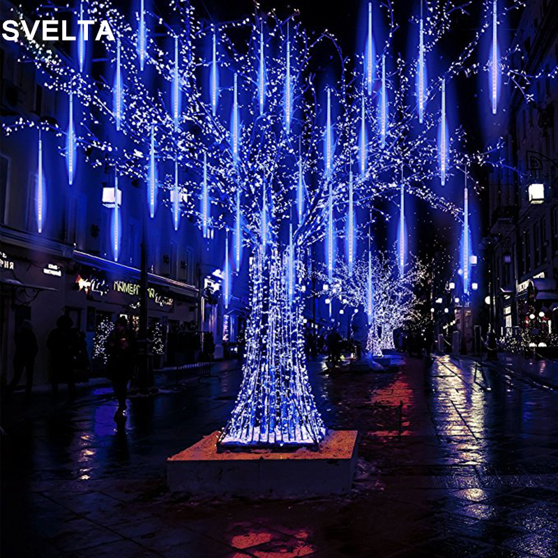 svelta 50cm waterproof meteor shower rain tubes led garland string lights outdoor christmas light decoration for garden backyard