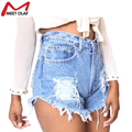 Women Vintage Ripped Hole Denim Shorts Casual Pocket Jean Short Pants 2016 Summer Girl Hot Shorts YL616