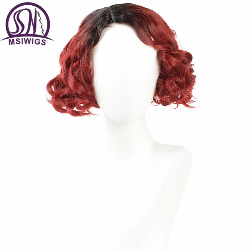 MSIWIGS Afro Curly Synthetic Wigs for Black Women Wine Red Ombre Short Wig Heat Resistant African