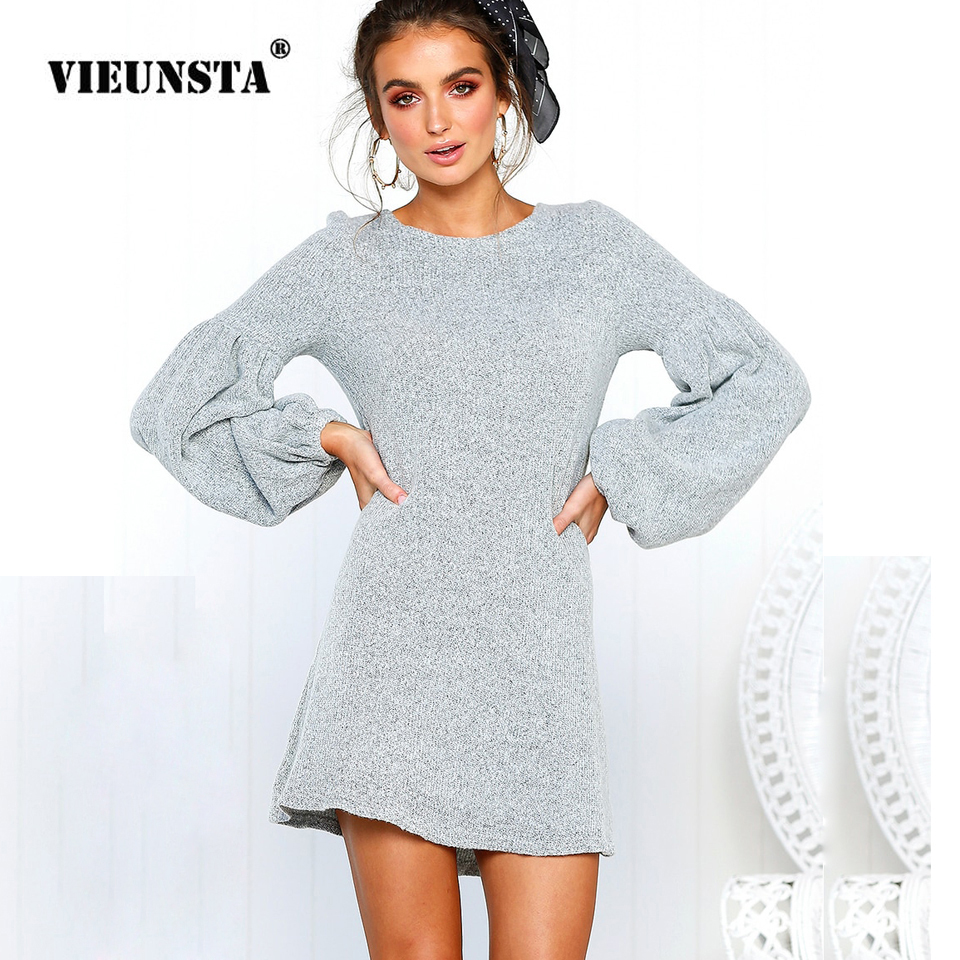 VIEUNSTA 2018 Women Lantern Long Sleeve Knitted Sweater Dress Elegant Autumn Winter Dress Casual O Neck Solid Mini Short Dresses