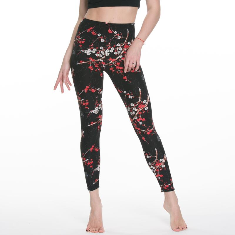 Women Rose Flower Printed Leggings Fashion Slim High Elastic Cotton Pants Multiple ColorsTrousers In