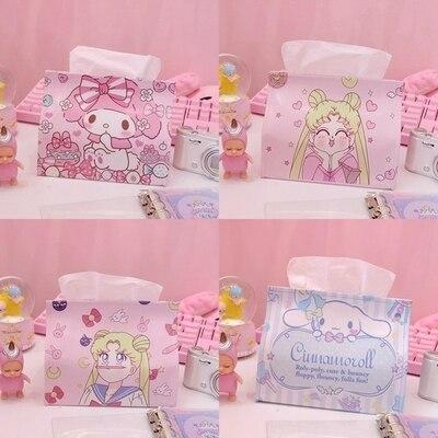 Cartoon Japan Melody Cat Sailmoon Pu Leather Toys Fashion Doll Stitch Tissue Box Toys For Girls Car Decor