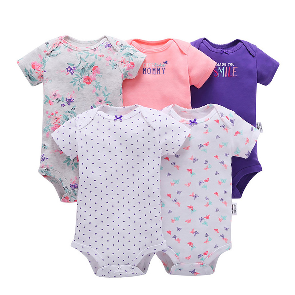 560196a986c5 5 Pcs Lot Baby Rompers 100% Cotton Short Sleeve Stitch Onesie ...