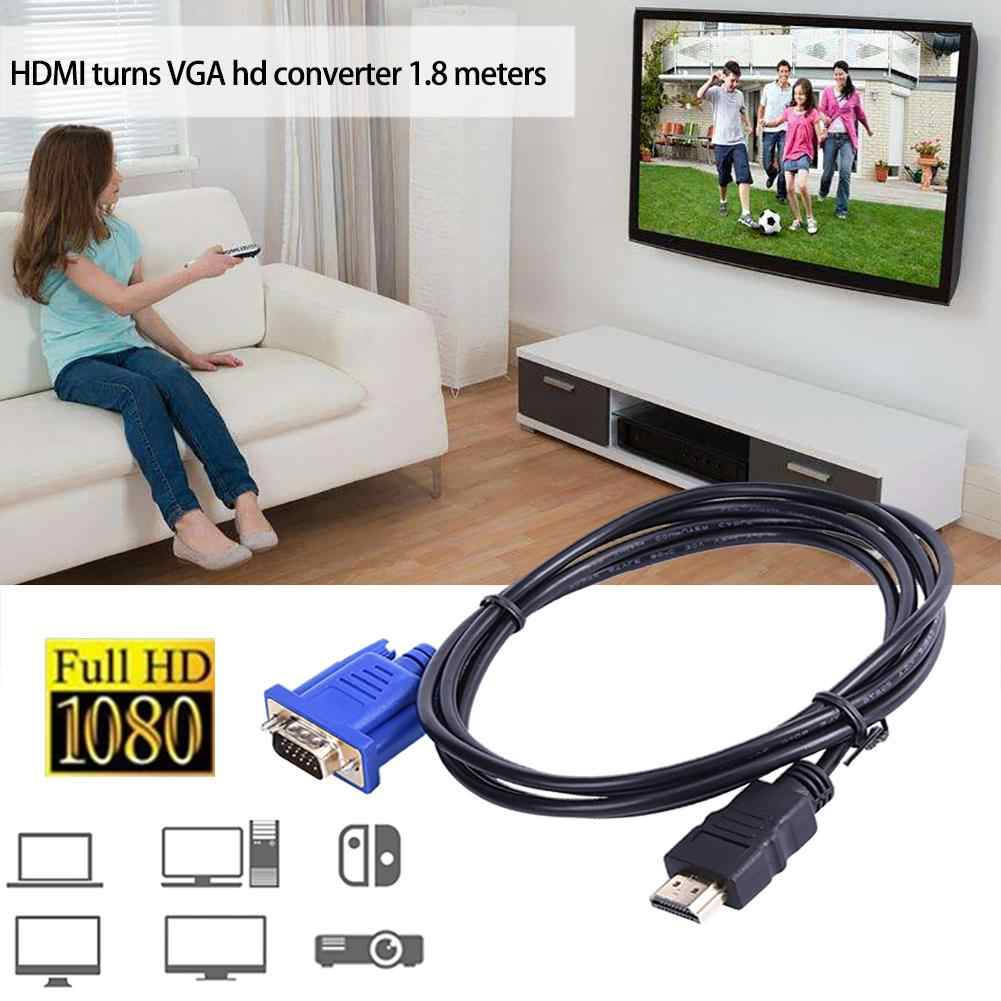 1.8M HDMI Ke Kabel VGA HD 1080P HDMI Male TO VGA Male Video Converter Adaptor untuk PC Laptop s10 DMI untuk Kabel VGA