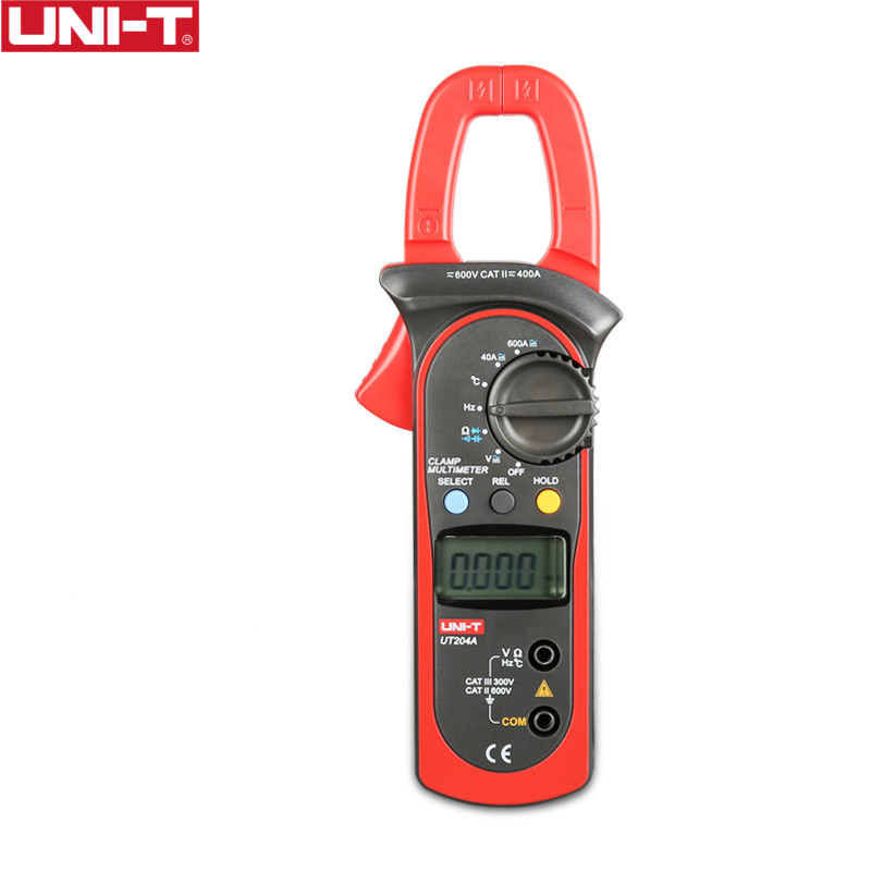 UNI-T ut204a 600a ac dc medidores de braçadeira digital com teste de temperatura faixa automática 600 v tensão continuidade buzzer