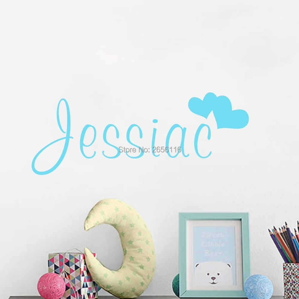 Personalized Name wall sticker Loving Hearts Vinyl  Art wallpaper for children Kids Room Decoration