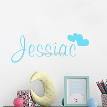 Personalized Name Loving Hearts Vinyl Wall Mural Decals for Kids Room Decoration цена 2017