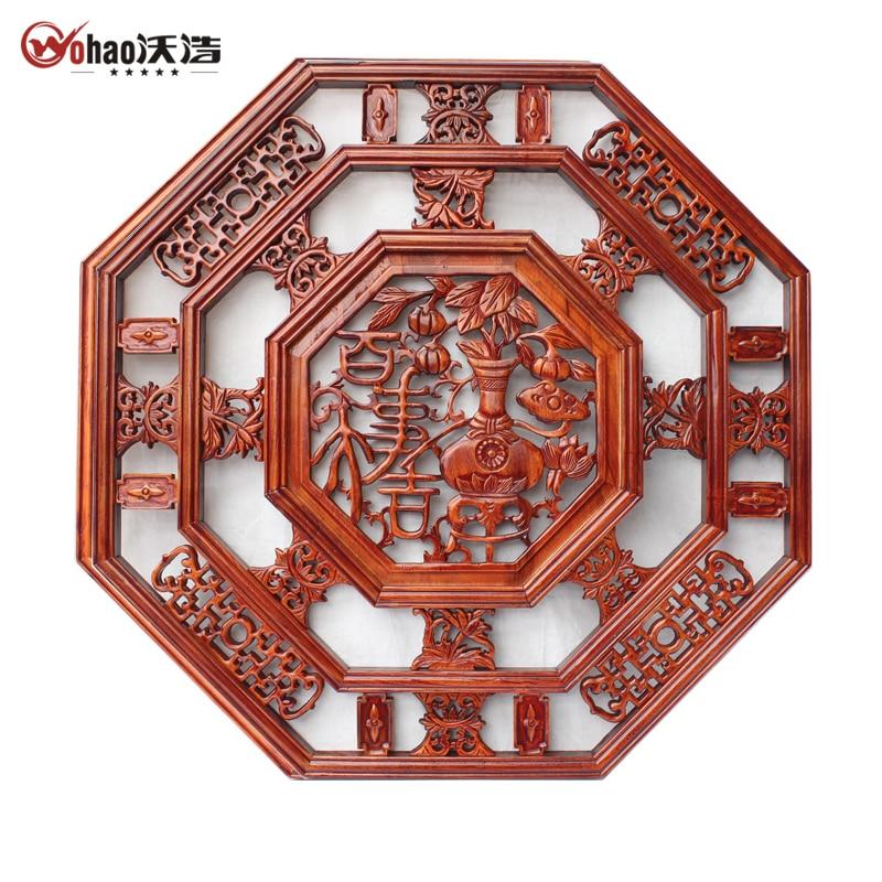 Derlook Dongyang Wood Carving Camphor Wood Antique Pendant Screen Engraved 80cm
