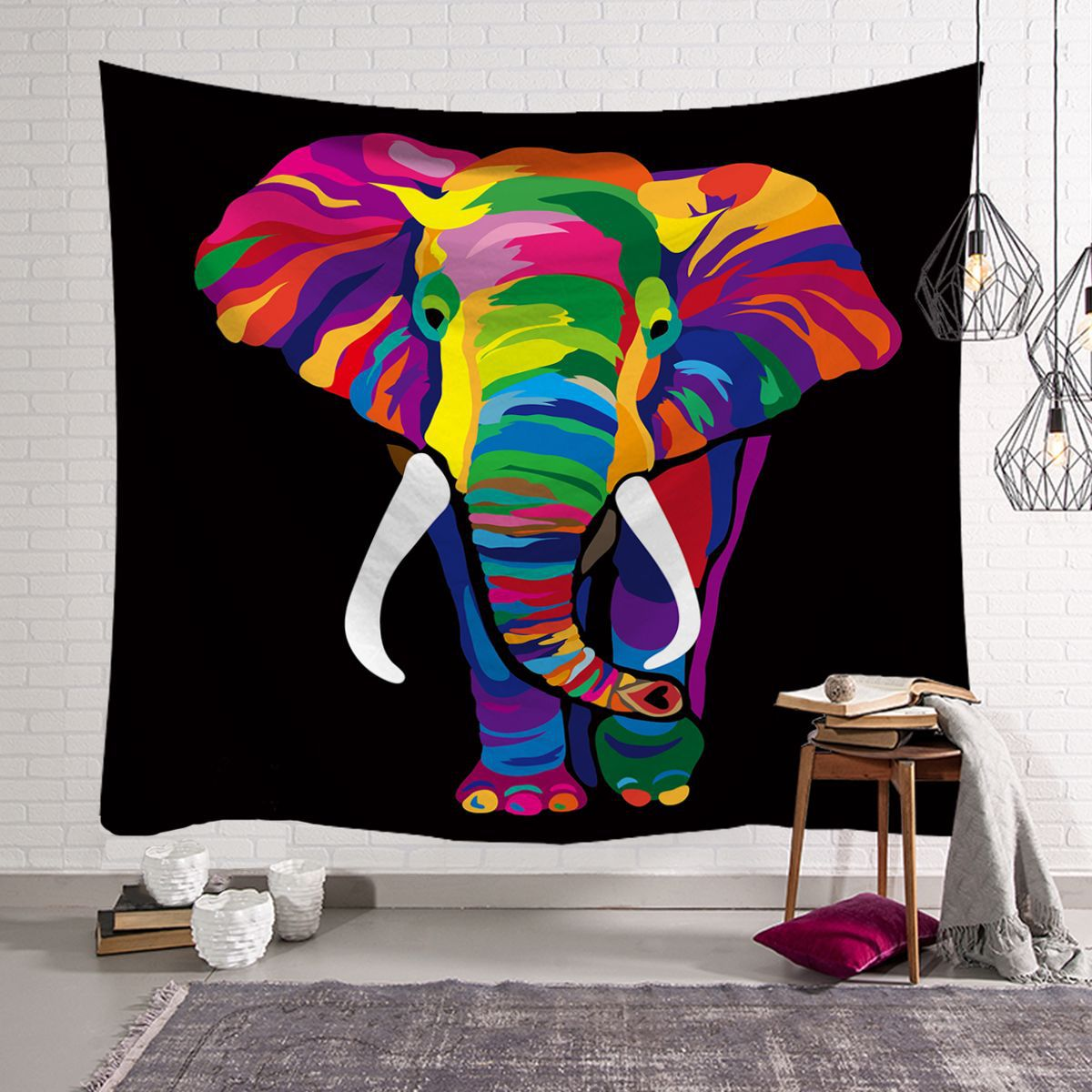 1d33b569b35d US $6.99 |Fashion Cool Chic Elegant Elephant Colored Printed Witchcraft  Decorative Hippie Mandala Macrame Bohemian Wall Hanging Tapestry-in  Tapestry ...