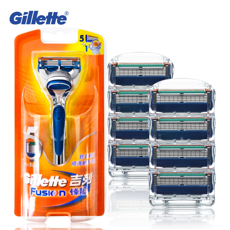 Genuine Gillette Fusion Shaving Razor Blades For Men Face Care Washable Brands Shaver Blades 1 Holder + 9 Blades gillette shaving razor blades for men 6 count