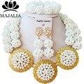Мода Нигерии Свадьба африканские ювелирных изделий шариков установить white Crystal ожерелье браслет Свадебный комплект Ювелирных Изделий Бесплатная доставка FV-001