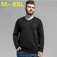 10XL 8XL 6XL 5XL Sweater Man 100 Pure Cashmere Knitted Winter Warm Pullovers V Neck Long