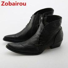 Zobairou botas masculina осенне-зимняя обувь мужские военные тактические ботинки Черная кожа с острым носком рок ковбойские сапоги мужские