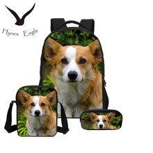 Hynes Eagle New Hot Welsh Corgi Pembroke Bookpacks 3D PU Print School Bagpacks Dogs Children Bookbags Kids Fresh Study Backpacks
