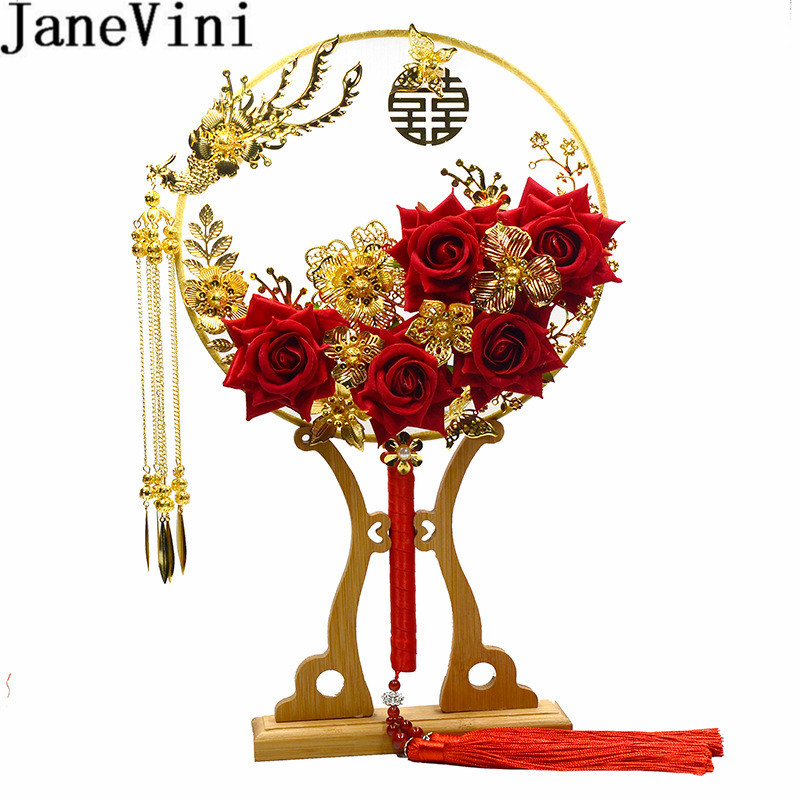 JaneVini Unique Fan Type Wdding Bouquets Luxury Chinese Red Flowers Gold Floral Bridal Handle Fans Tassel Bride Brooch Flores