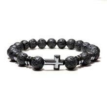 Noter Natural Volcanic Lava Bracelet Femme Homme Black 3 Styles Cross Braslet Yoga Prayer Jewelry Hematite Braclet  Bileklik
