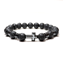 Noter natural lava vulcânica pulseira femme preto 3 estilos cruz braslet yoga oração jóias hematite braclet bileklik