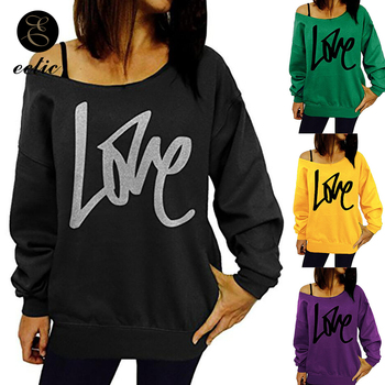 Open Shoulder Poleron Mujer 2019 One Shoulder Pullover Sweatshirt Yellow Pink Tunic Cute Love Oversized Korean Hoodies Women goplus women s sweatshirt lace up oversized hoodies streetwear pink yellow pullovers bluzy damskie sudaderas para mujer c9613