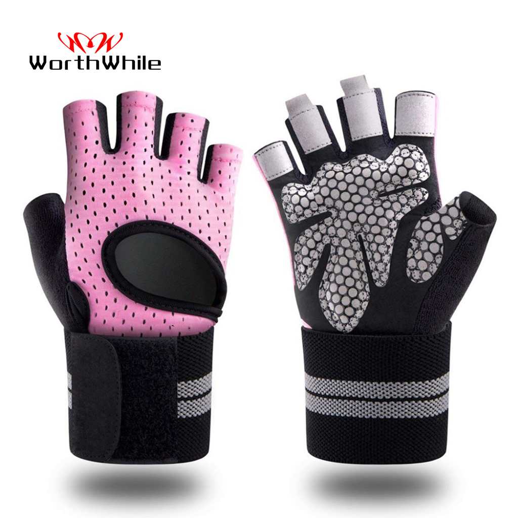 WorthWhile Half Finger Gym Fitness Gloves with Wrist Wrap Support for Women Men Crossfit Workout Power Weight Lifting Equipment