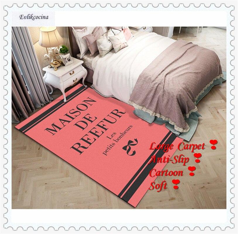 Livraison gratuite mots noirs tapis Rose tapis pour la maison tapis de sol salon Moqueta Suelo chambre Tapete Para Sala Alfombra Dywan