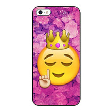 Funny Queen Emoji Hot Selling UV Black Bag Case For iPhone5 5S